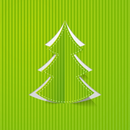 Christmas tree cut in paper Illustration