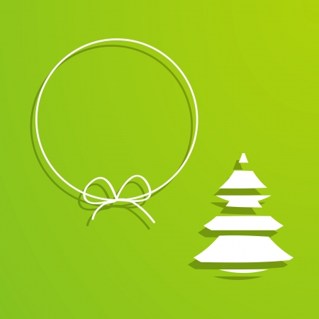 green background with a frame and a Christmas tree Vector