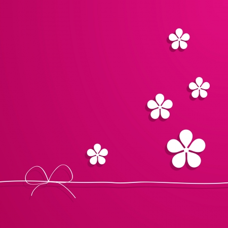 baby background: pink card with flowers Illustration