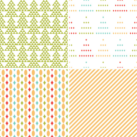 set of seamless Christmas geometric patterns Vector