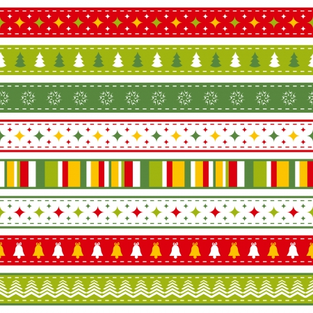 set of seamless Christmas ribbons Vector