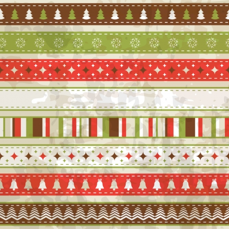 vintage Christmas background  Seamless pattern and seamless ribbons are in the palettes  Vector