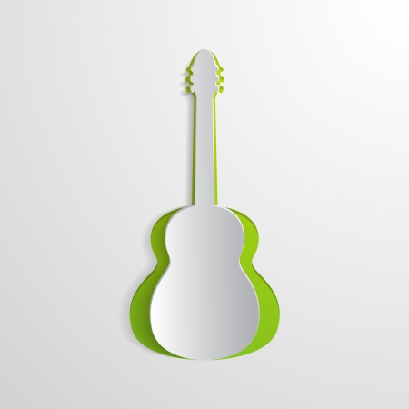 music poster: white background with a cut guitar