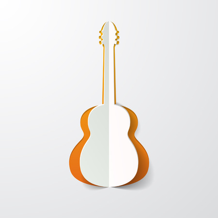 acoustic: guitar cut in paper Illustration
