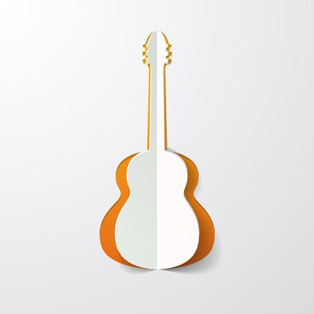 guitar cut in paper