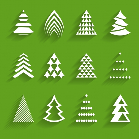 set of paper fir trees Vector