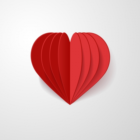red 3d paper heart Vector
