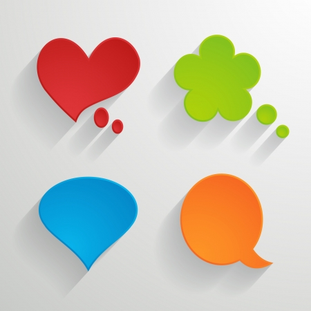set of bright paper speech bubbles Vector