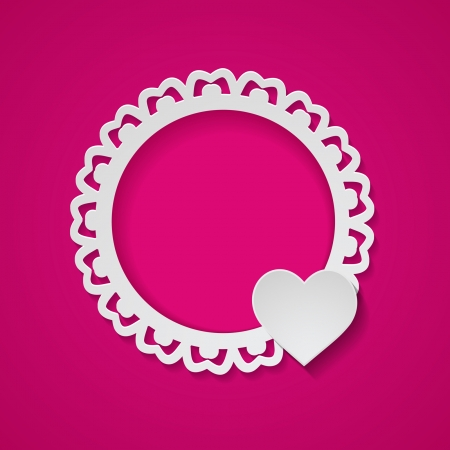 pink background with a paper frame and a heart Vector