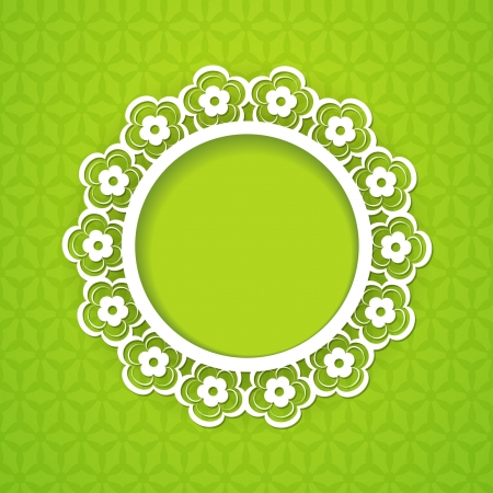 green background with a floral frame Vector