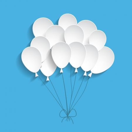 birthday balloons: blue background with paper balloons