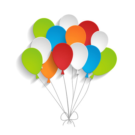 a bunch of bright paper balloons Vector