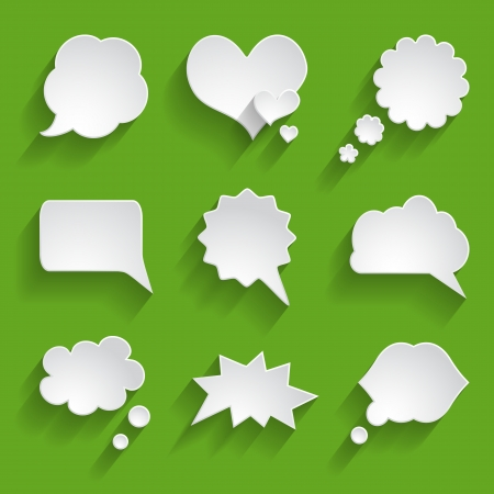 set of white paper speech bubbles Stock Vector - 24544447