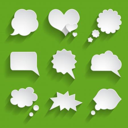 set of white paper speech bubbles Stock Vector - 24544447