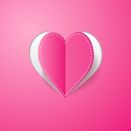 feeling happy: pink background with a cut heart