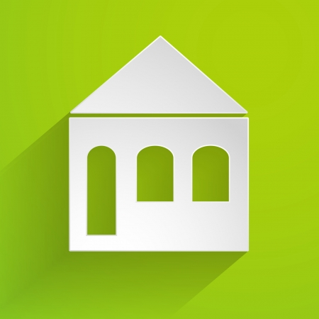 white paper house on the green background Vector