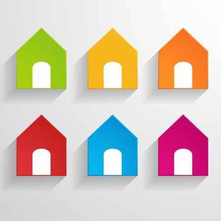 bright paper house icons Vector