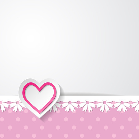 background with a floral lacy border and a heart Vector