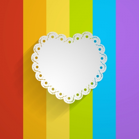 white lacy heart on the rainbow background Vector