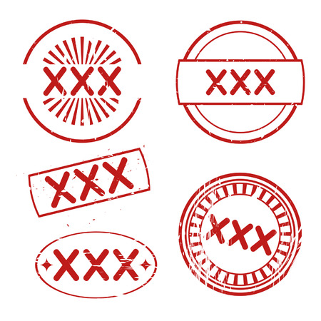 xxx: set of triple x rubber stamps