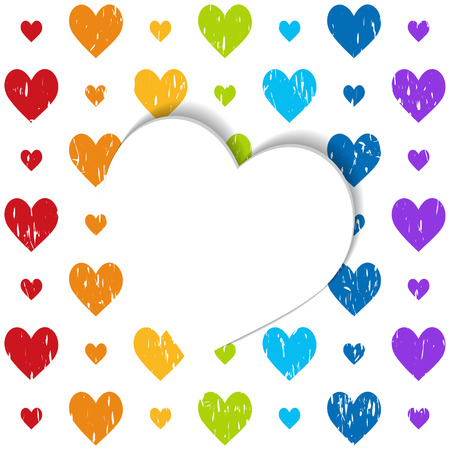 white paper heart on the pattern in rainbow colors Vector