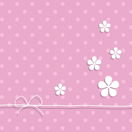 pink greeting card with flowers Vector