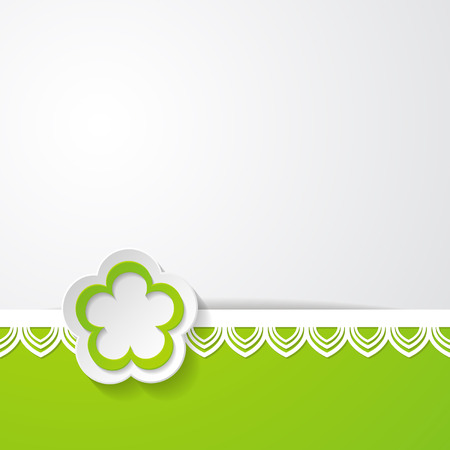 spring background with a green border and a paper flower Vector