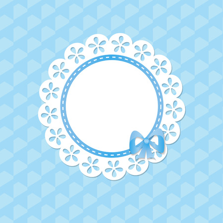 lacy frame on the blue seamless background Vector