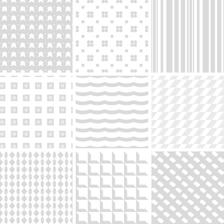 simple geometry: set of 9 white and grey seamless patterns