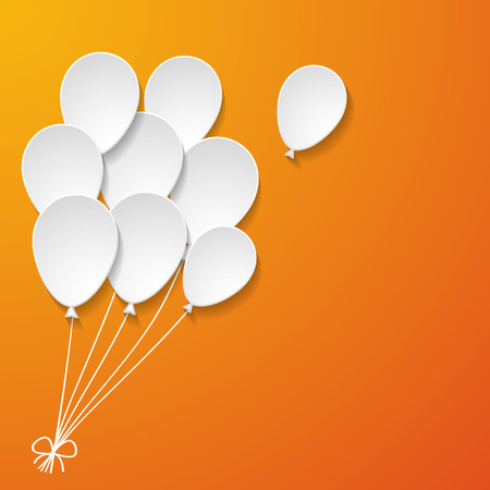 white paper balloons on the orange background Vector