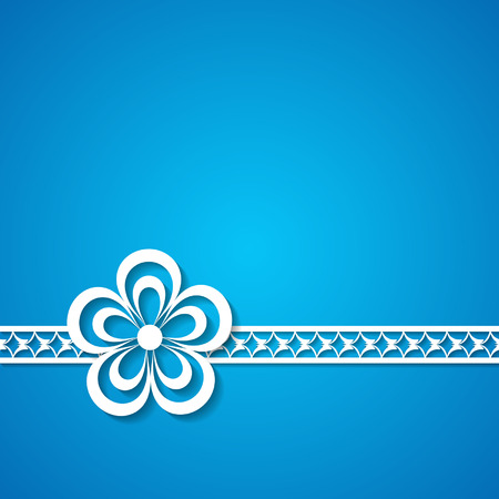 blue background with a lace and a flower Vector
