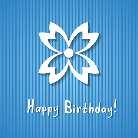 blue birthday card with a flower Vector