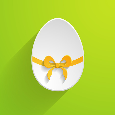 paper Easter egg on the green background Vector
