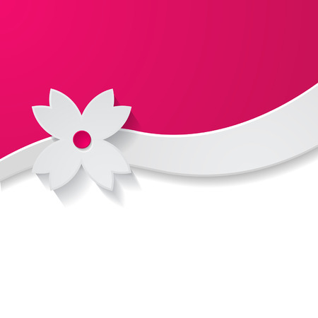 template of the greeting card with a paper flower Vector