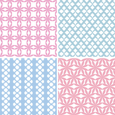 4 blue and pink simple patterns Vector