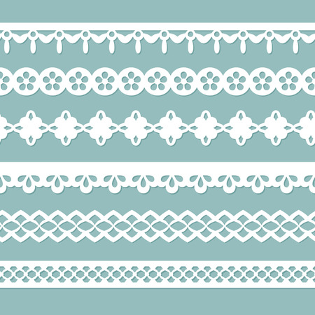 set of seamless borders on the blue background Vector