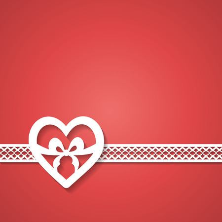art border: red background with a paper lace and a heart Illustration