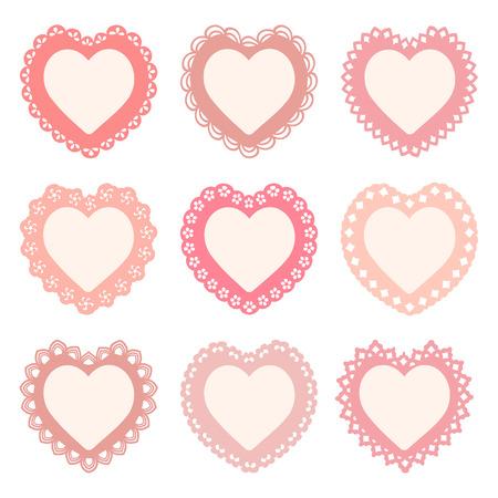 set of heart shaped frames Vector