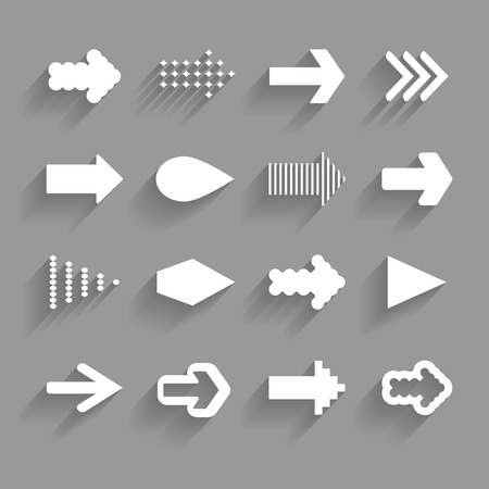 white arrows with shadows on the gray background Vector