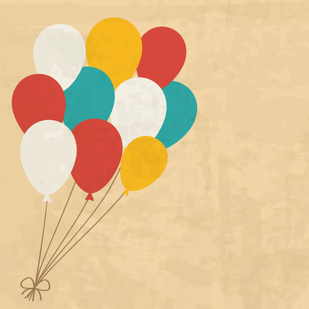 balloons: vintage birthday card with a bunch of balloons