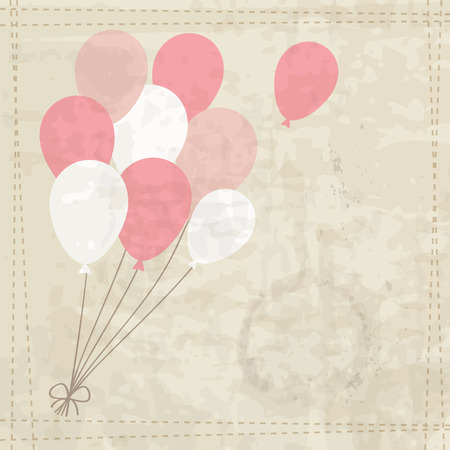 vintage baby: vintage background with a bunch of the pink balloons