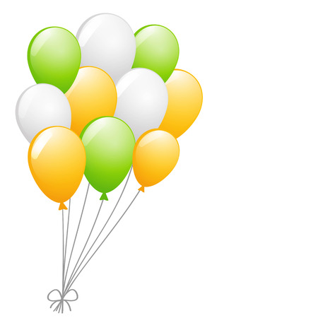 green balloons: a bunch of the white, yellow and green balloons on the white background Illustration