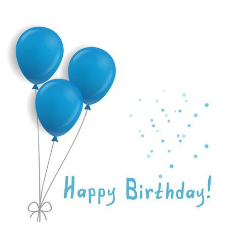 Geburtstagskarte mit blauen Luftballons