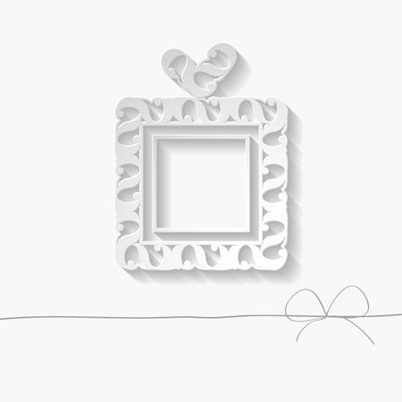 gift paper: 3d white paper gift box