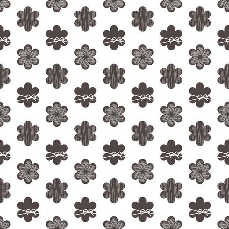 silhouette fleur: noir et blanc seamless pattern avec des fleurs Illustration