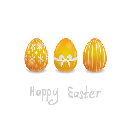 tarjeta de pascua con 3 huevos pintados en el fondo blanco