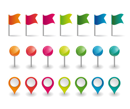 set of colorful flags, round pins and map pointers Stock Vector - 73016360