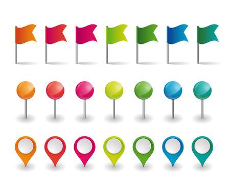 zestaw kolorowych flag, okrągłych pinezek i wskaźników na mapie