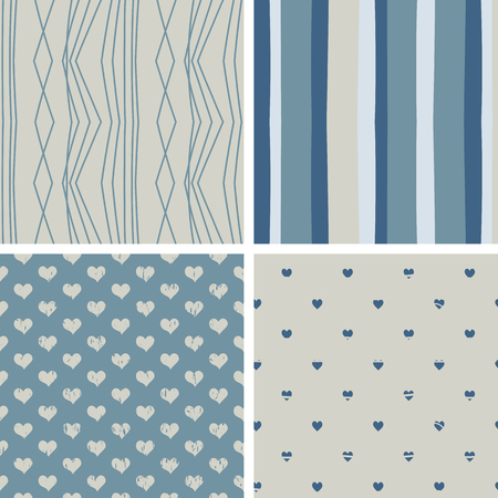 blue stripes: 4 seamless patterns with stripes, lines and hearts in blue and beige colors