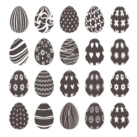 osterei: st von schwarzen und weißen dekorative Osterei Symbole